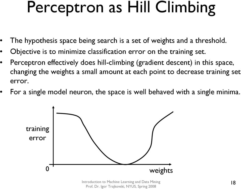 Perceptron effectively does hill-climbing (gradient descent) in this space, changing the weights a small