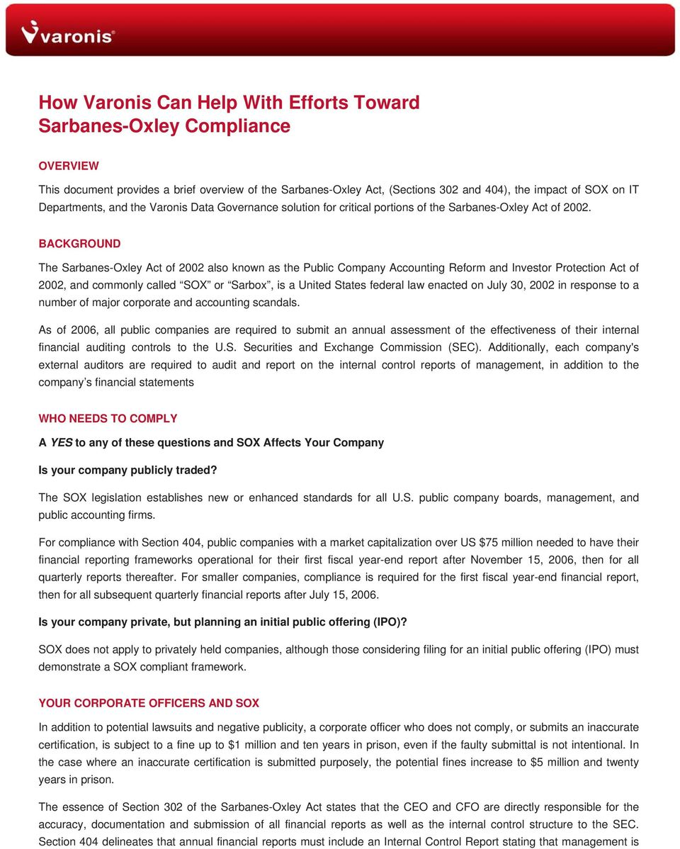 How Varonis Can Help With Efforts Toward Sarbanes Oxley Compliance Pdf