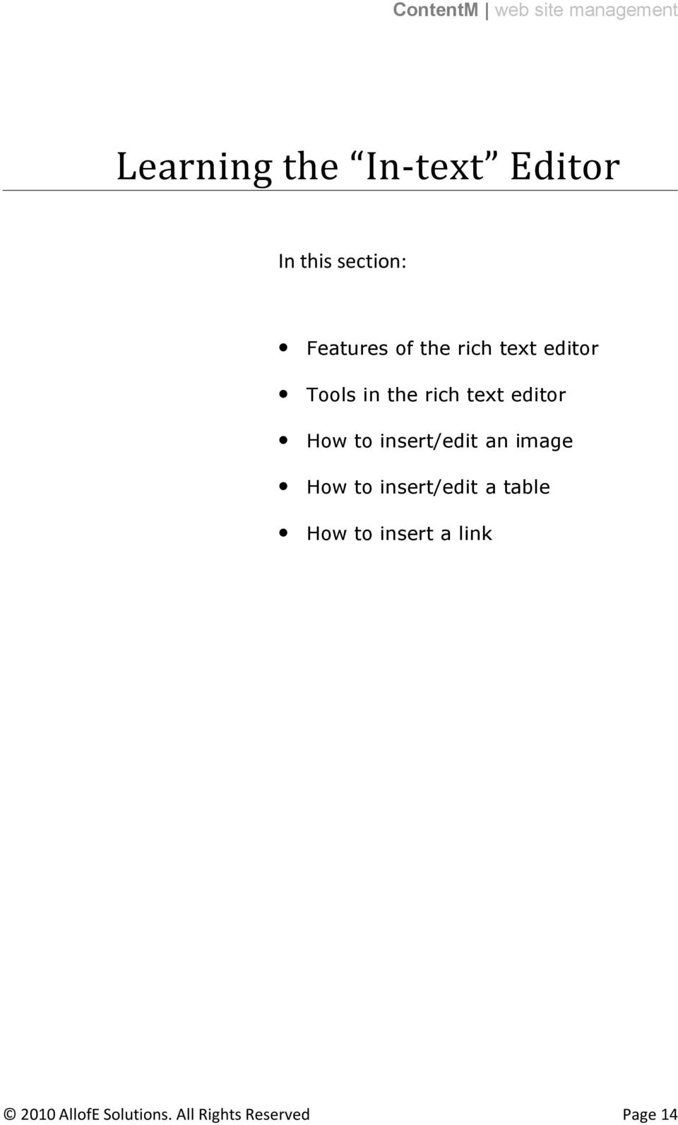 insert/edit an image How to insert/edit a table How to