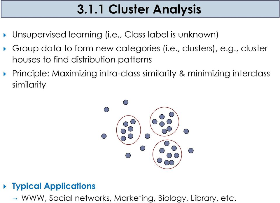 , cluster huses t find distributin patterns Principle: Maximizing intra-class