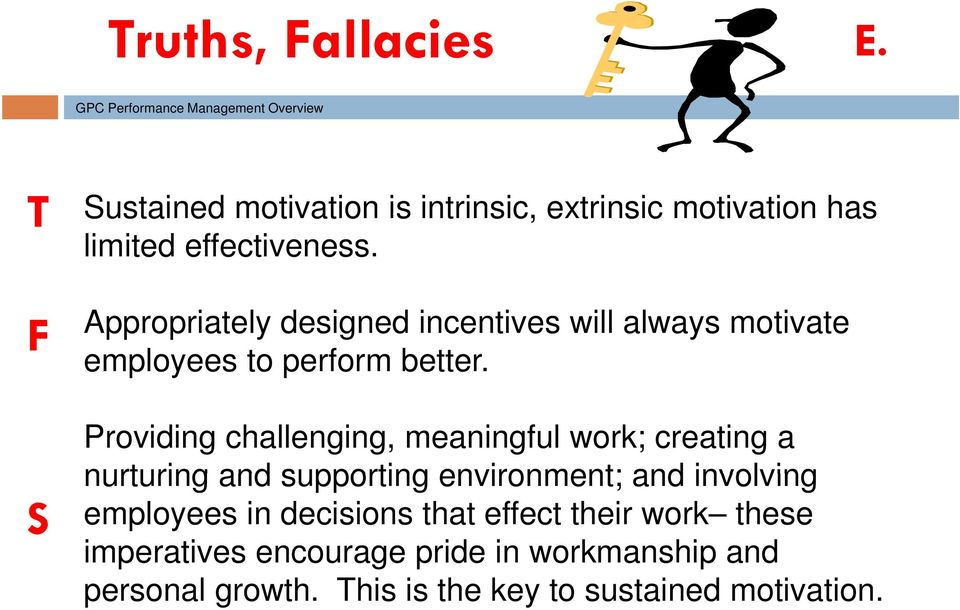 F Appropriately designed incentives will always motivate employees to perform better.
