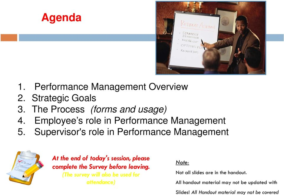Supervisor's role in Performance Management At the end of today's session, please complete the Survey before