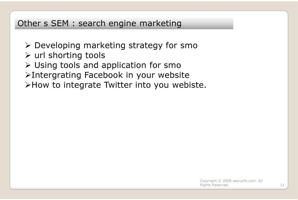 tools and application for smo Intergrating Facebook