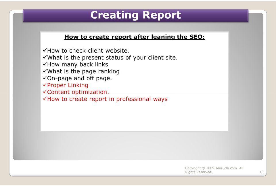 How many back links What is the page ranking On-page and off page.