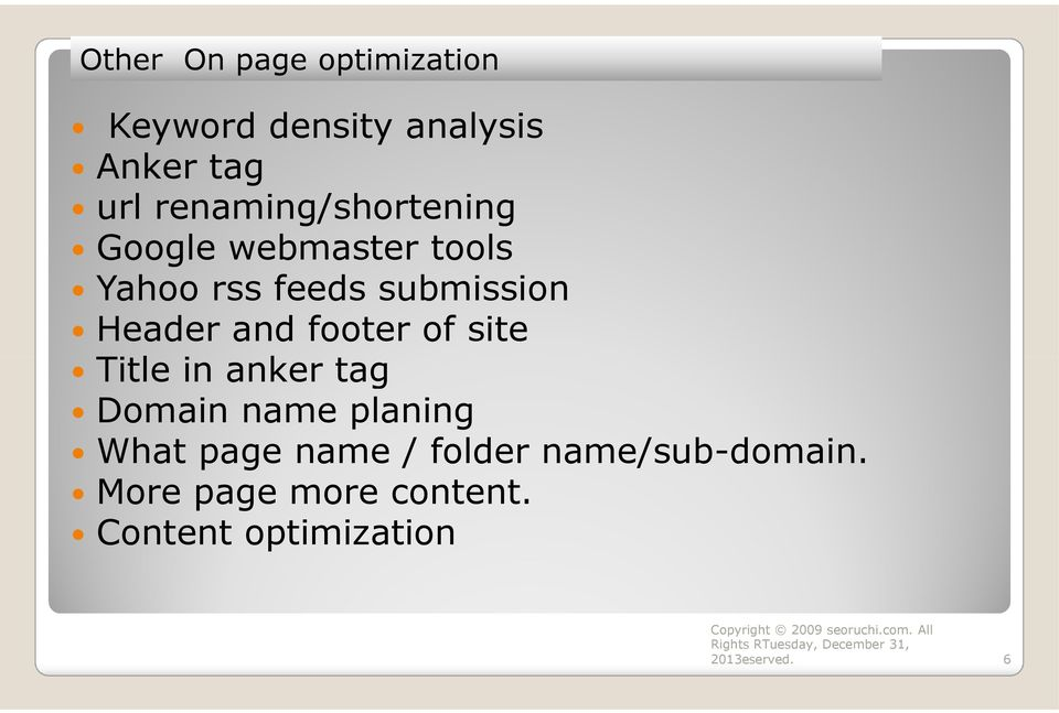 footer of site Title in anker tag Domain name planing What page name / folder