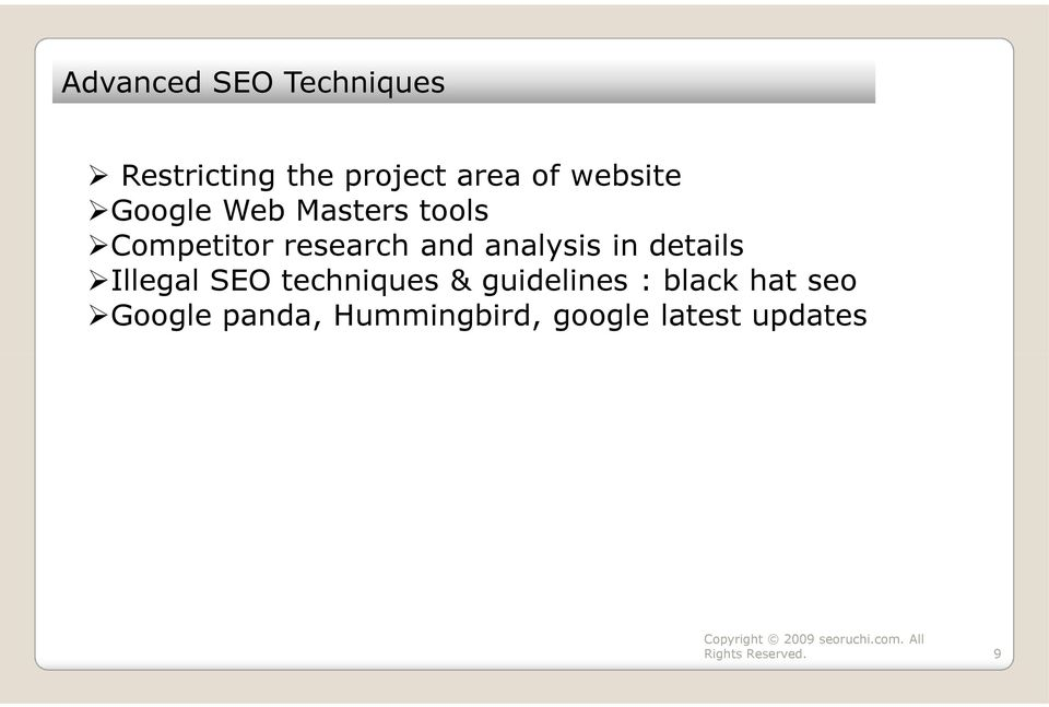 analysis in details Illegal SEO techniques & guidelines :