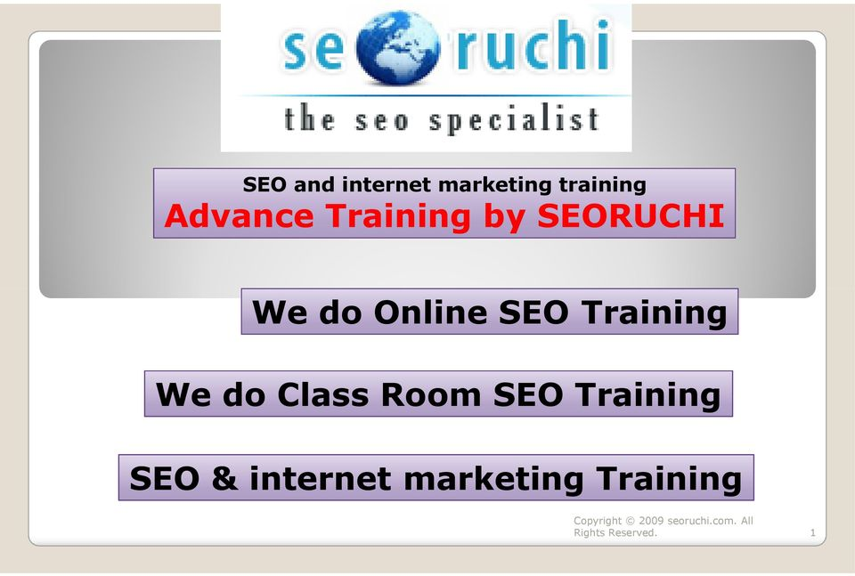 Online SEO Training We do Class Room