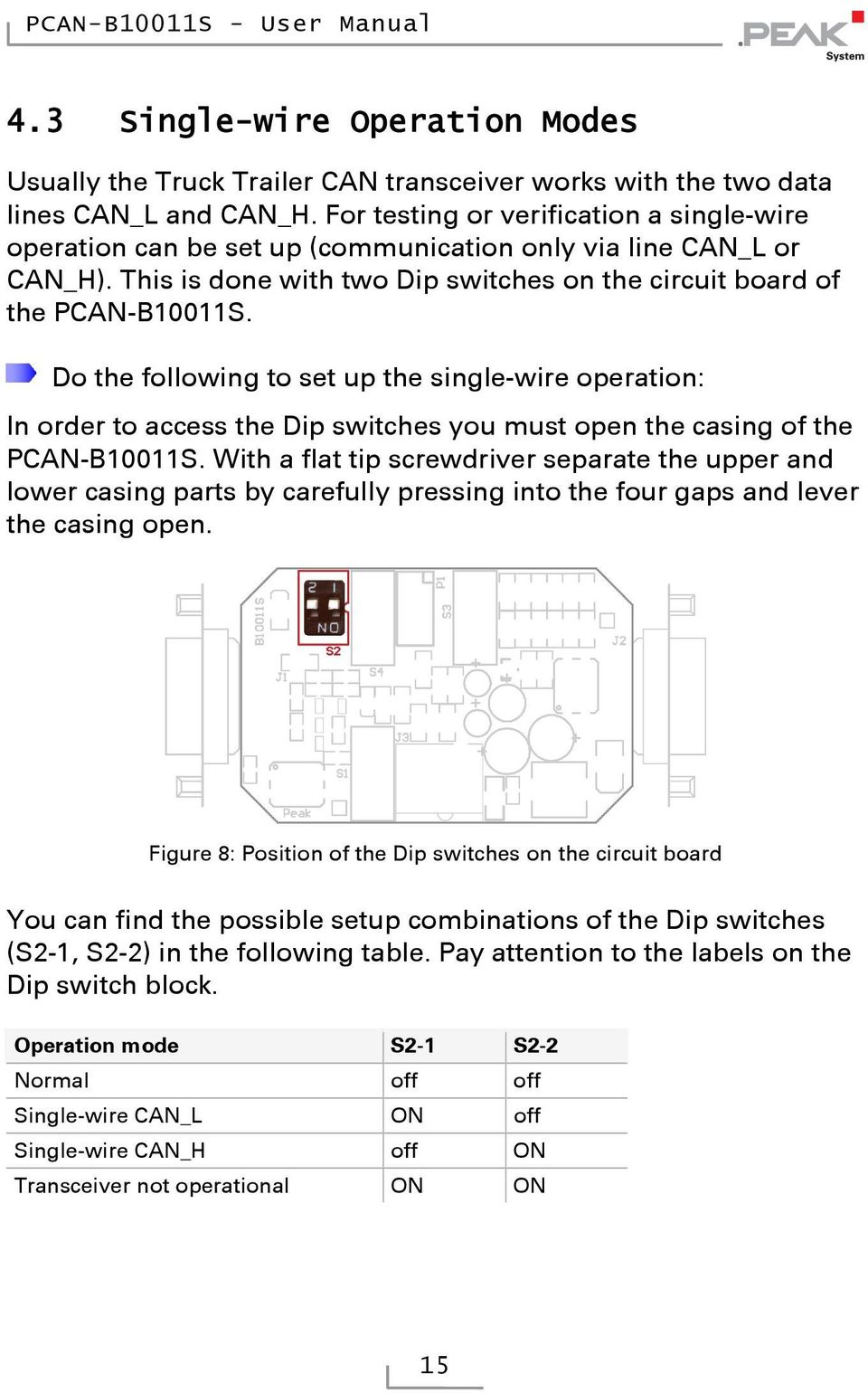 Do the following to set up the single-wire operation: In order to access the Dip switches you must open the casing of the PCAN-B10011S.
