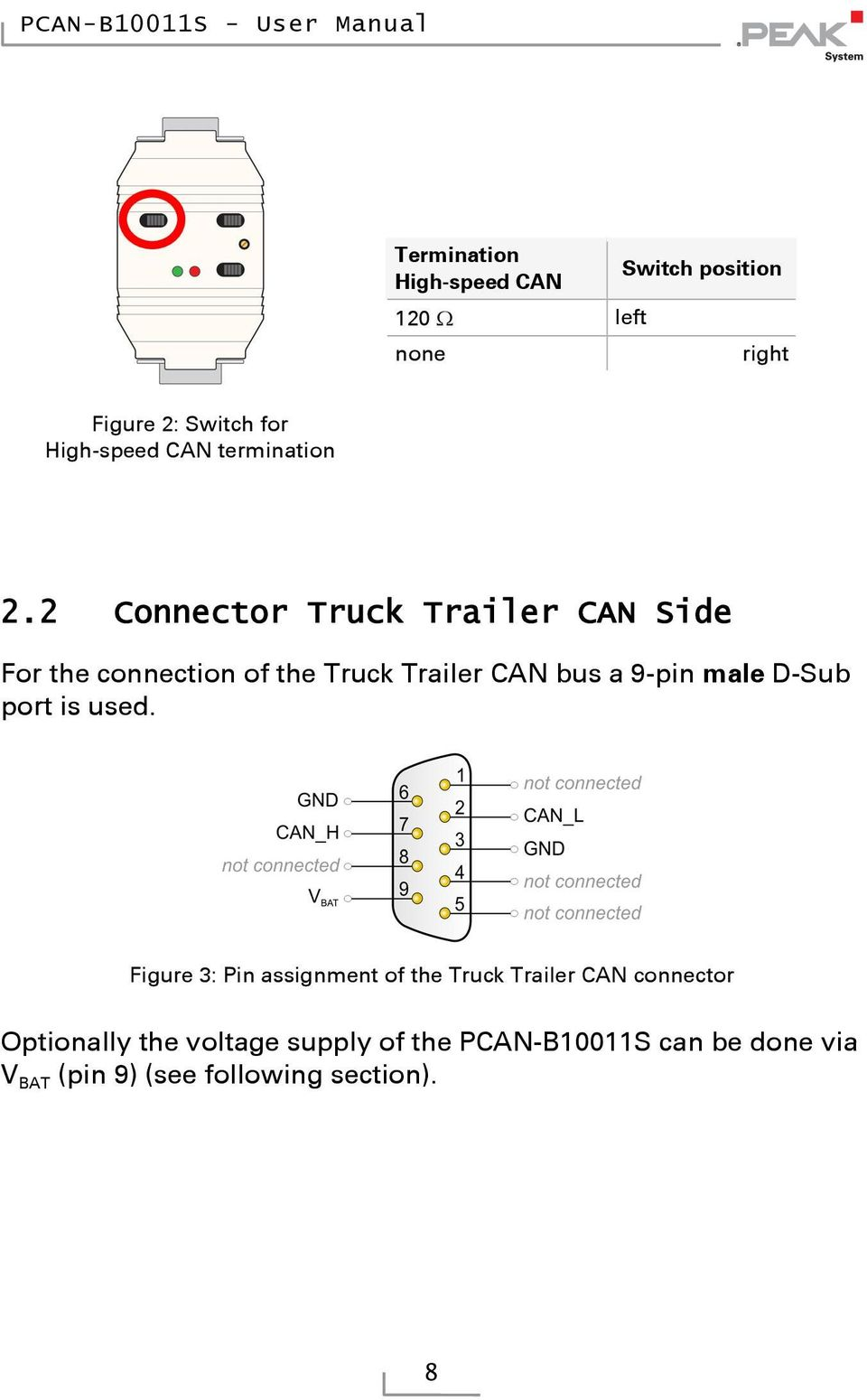 2 Connector Truck Trailer CAN Side For the connection of the Truck Trailer CAN bus a 9-pin male