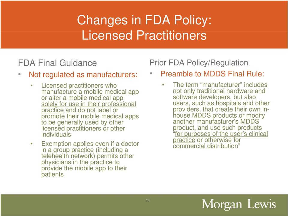 in a group practice (including a telehealth lth network) permits other physicians in the practice to provide the mobile app to their patients Prior FDA Policy/Regulation Preamble to MDDS Final Rule: