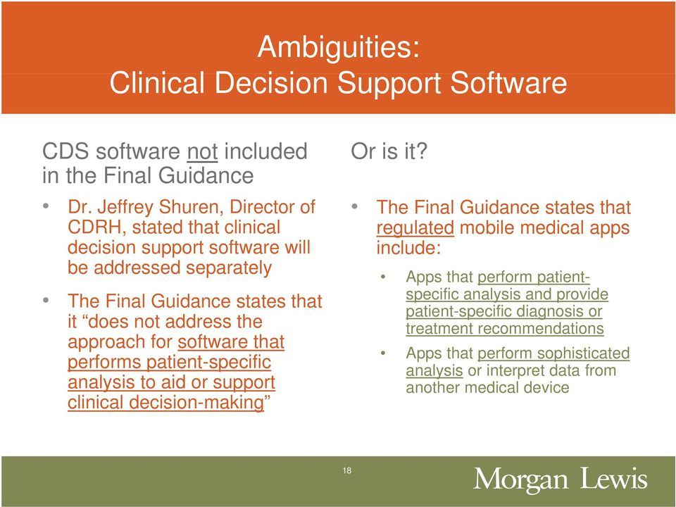 approach for software that performs patient-specific analysis to aid or support clinical decision-making The Final Guidance states that regulated mobile medical