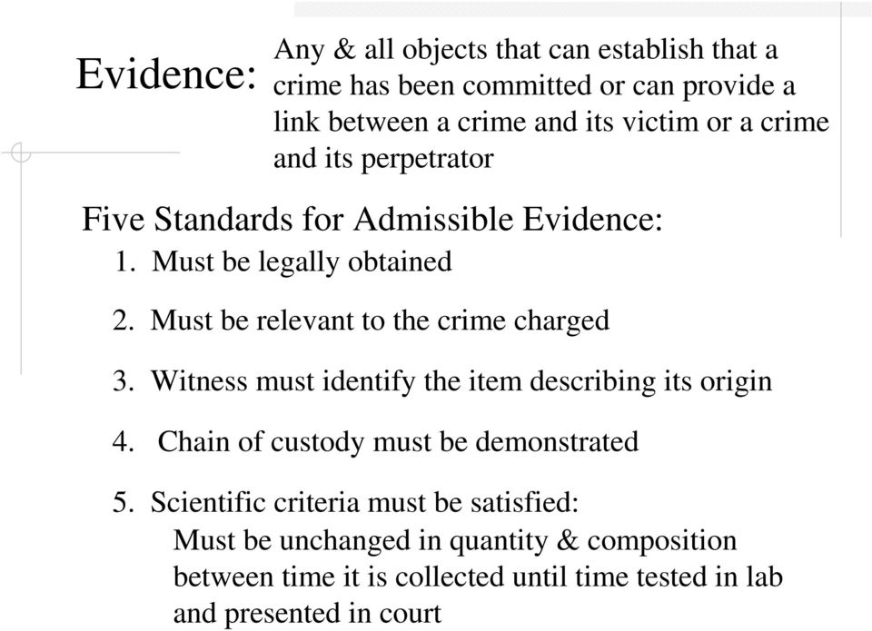 Must be relevant to the crime charged 3. Witness must identify the item describing its origin 4.