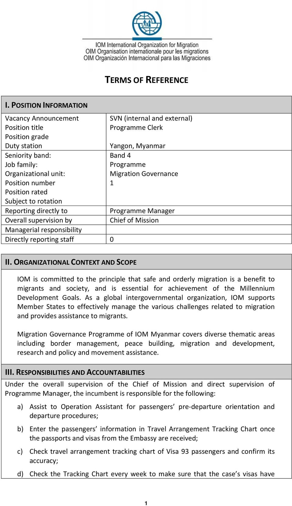 directly to Overall supervision by Managerial responsibility Directly reporting staff 0 SVN (internal and external) Programme Clerk Yangon, Myanmar Band 4 Programme Migration Governance 1 Programme