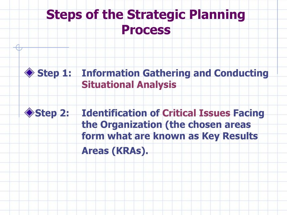 Identification of Critical Issues Facing the Organization