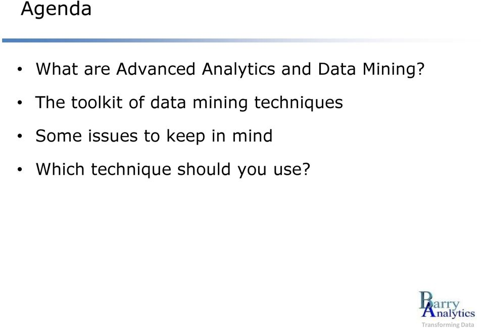 The toolkit of data mining techniques