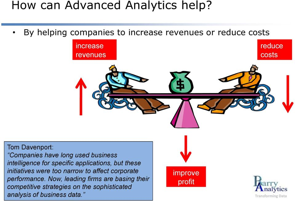 Davenport: Companies have long used business intelligence for specific applications, but these
