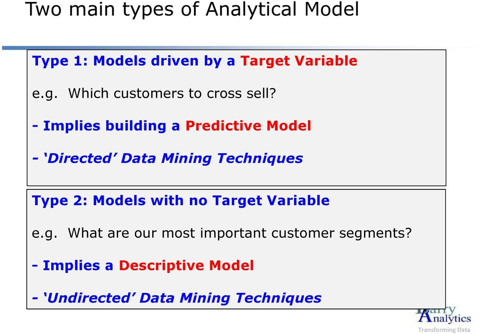 - Implies building a Predictive Model - Directed Data Mining Techniques Type 2: