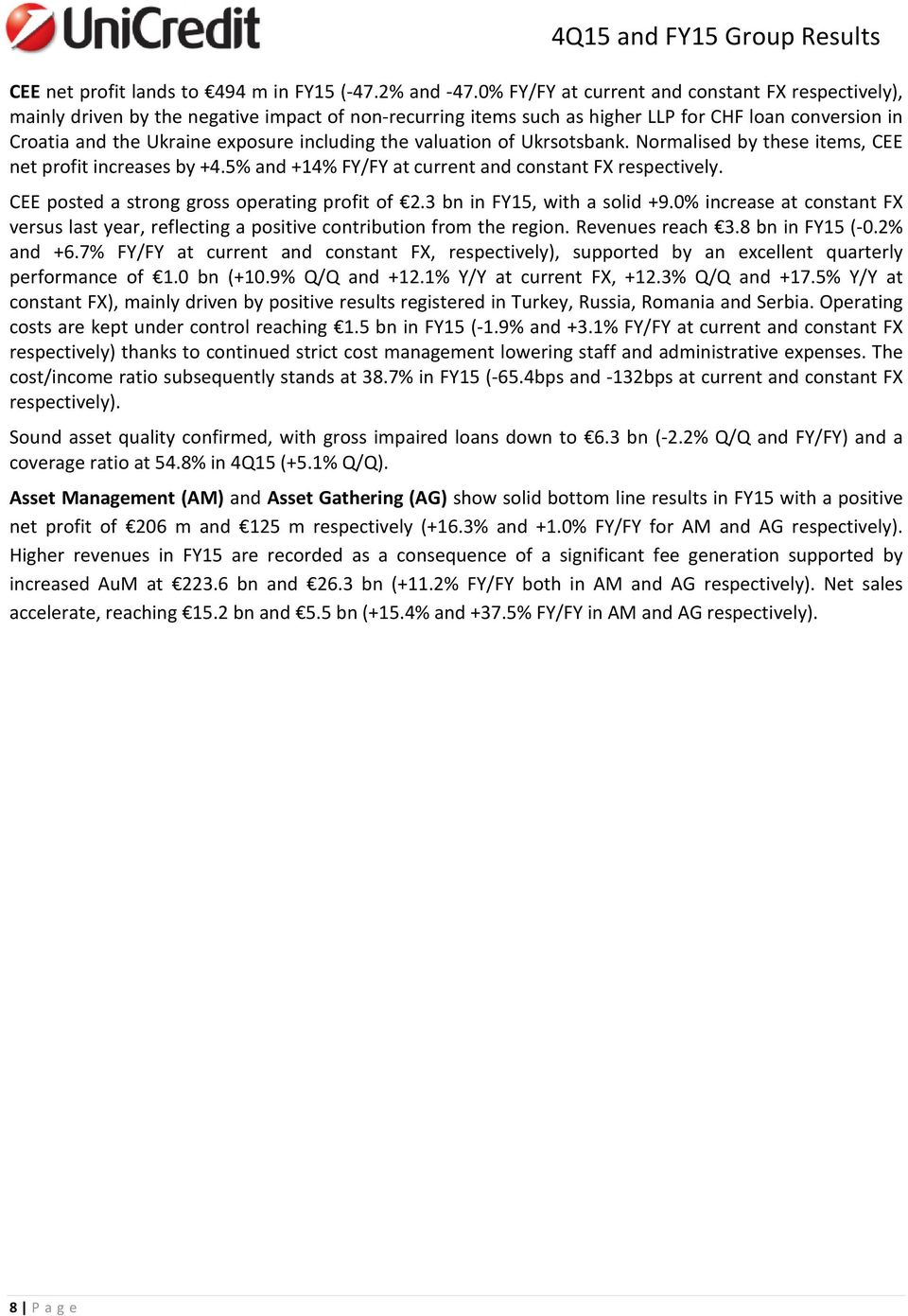 the valuation of Ukrsotsbank. Normalised by these items, CEE net profit increases by +4.5% and +14% FY/FY at current and constant FX respectively. CEE posted a strong gross operating profit of 2.
