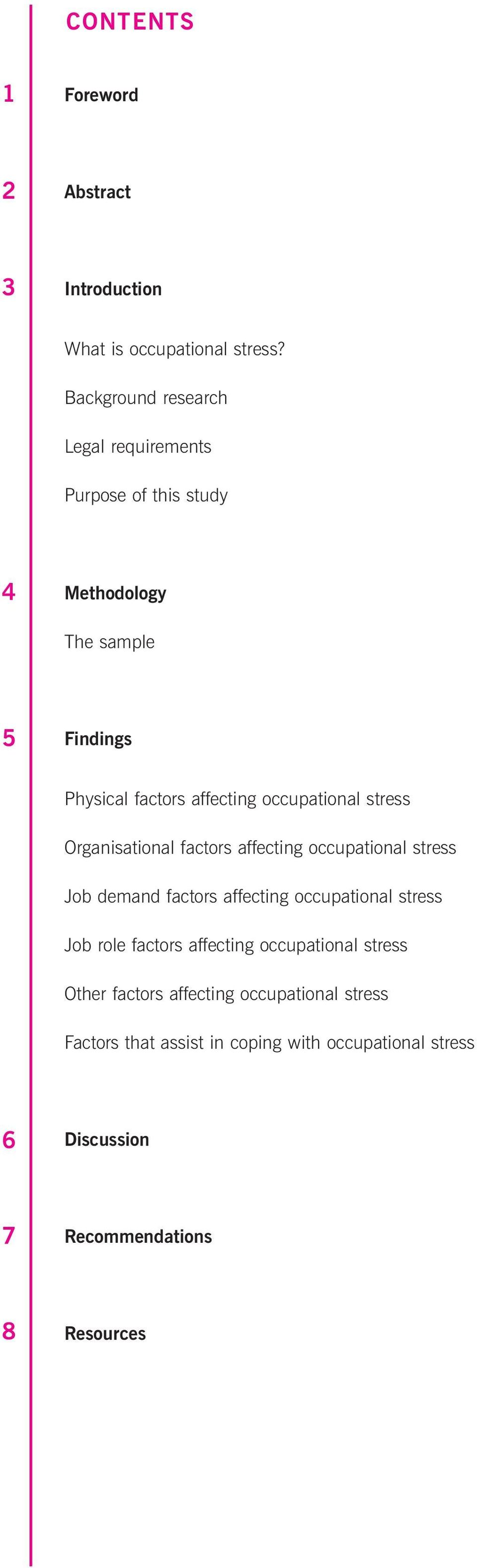 occupational stress Organisational factors affecting occupational stress Job demand factors affecting occupational stress Job