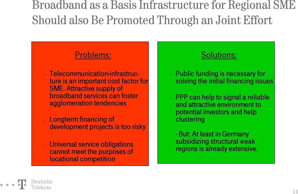 Attractive supply of broadband services can foster agglomeration tendencies Longterm financing of development projects is too risky Universal service obligations