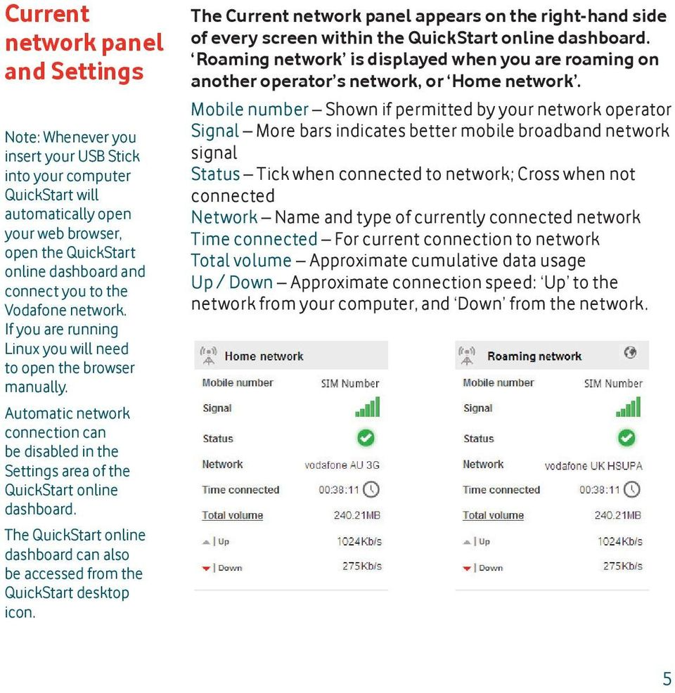 The QuickStart online dashboard can also be accessed from the QuickStart desktop icon. The Current network panel appears on the right-hand side of every screen within the QuickStart online dashboard.
