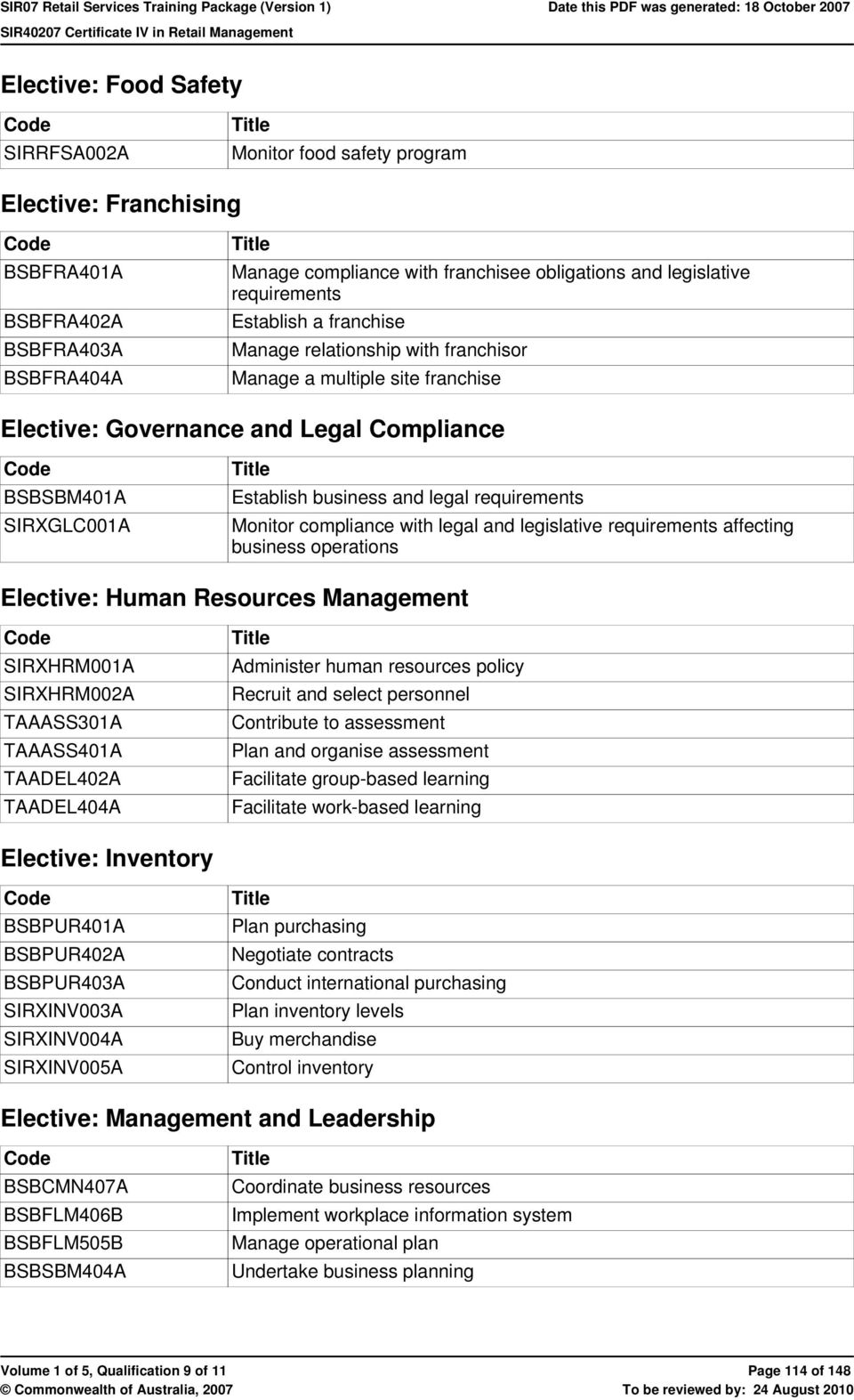 requirements Monitor compliance with legal and legislative requirements affecting business operations Elective: Human Resources Management SIRXHRM001A SIRXHRM002A TAAASS301A TAAASS401A TAADEL402A