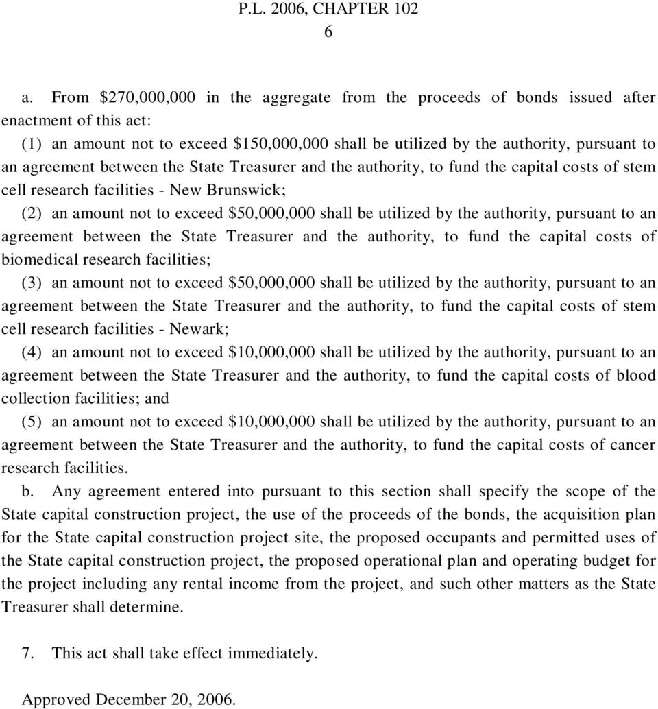 authority, pursuant to an agreement between the State Treasurer and the authority, to fund the capital costs of biomedical research facilities; (3) an amount not to exceed $50,000,000 shall be