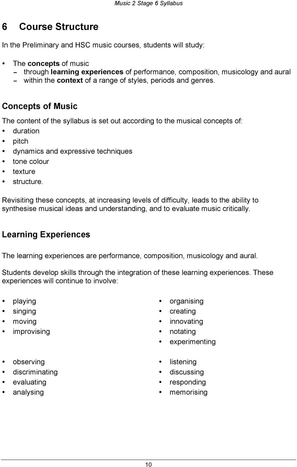 Concepts of Music The content of the syllabus is set out according to the musical concepts of: duration pitch dynamics and expressive techniques tone colour texture structure.