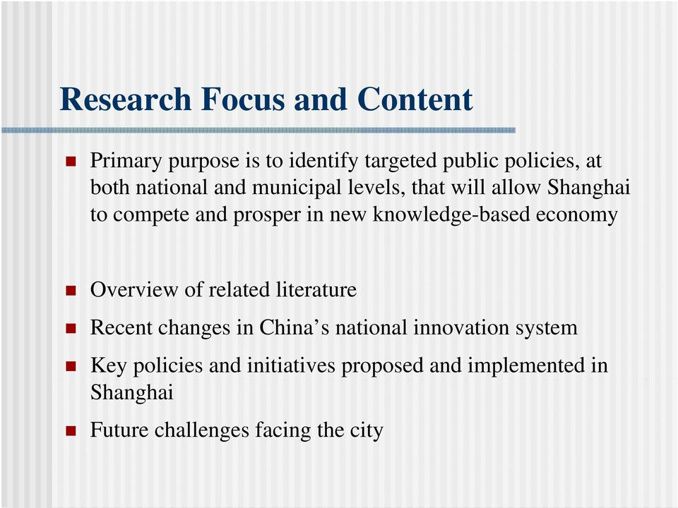 knowledge-based economy Overview of related literature Recent changes in China s national