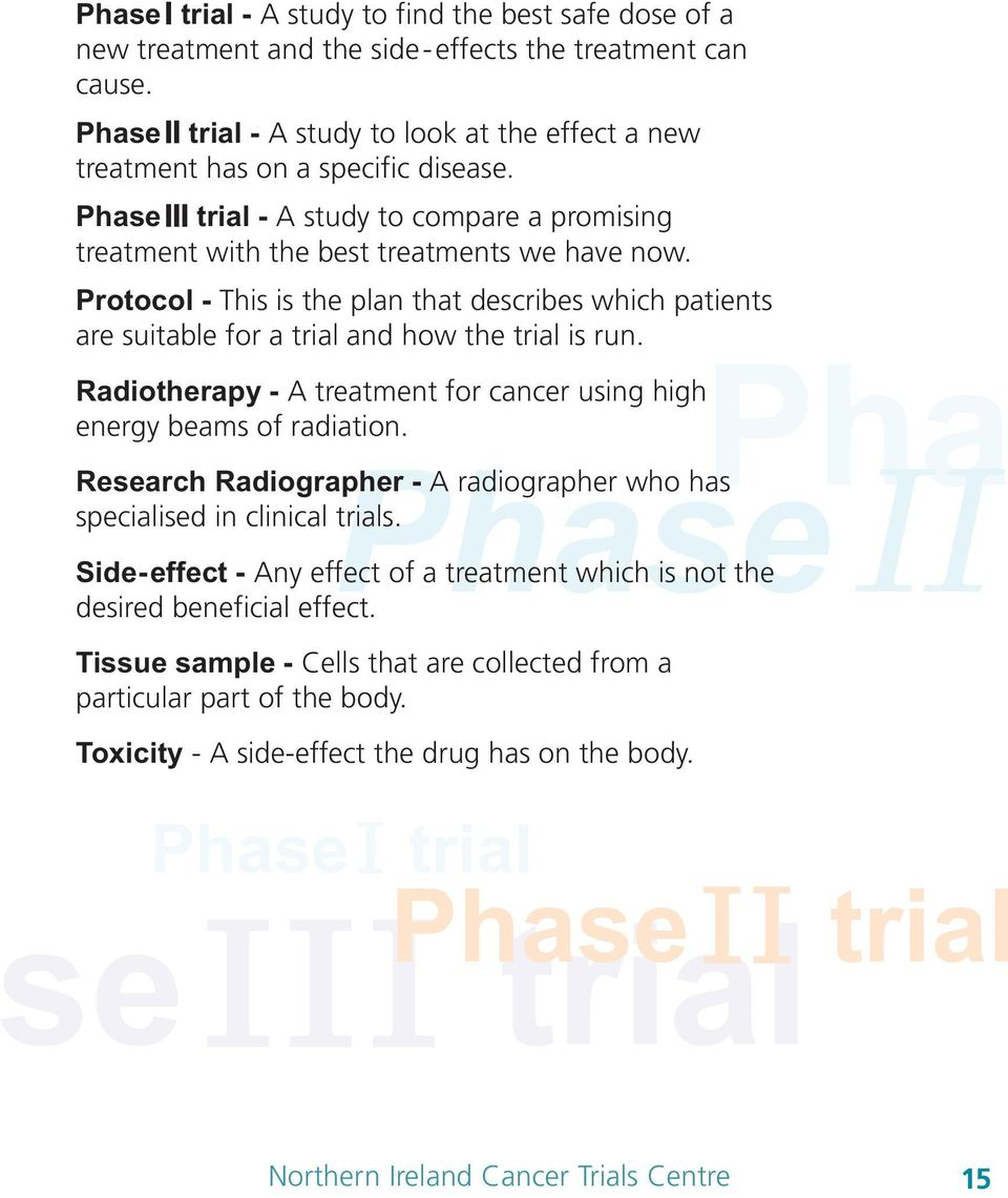 Protocol - This is the plan that describes which patients are suitable for a trial and how the trial is run. Pha PhaseΙΙ Radiotherapy - A treatment for cancer using high energy beams of radiation.