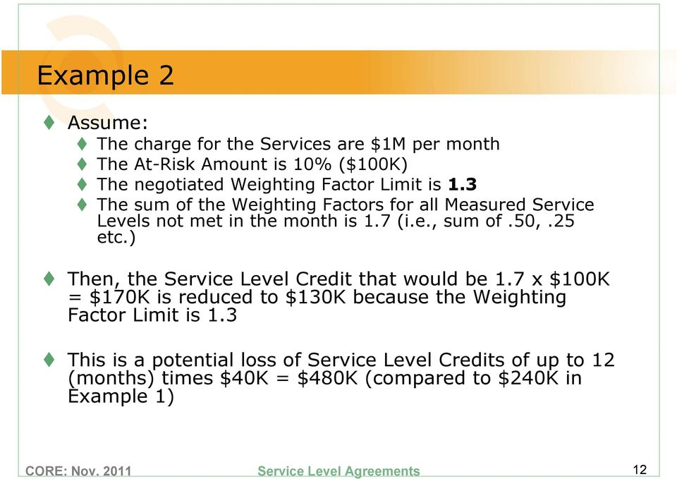 50,.25 etc.) Then, the Service Level Credit that would be 1.