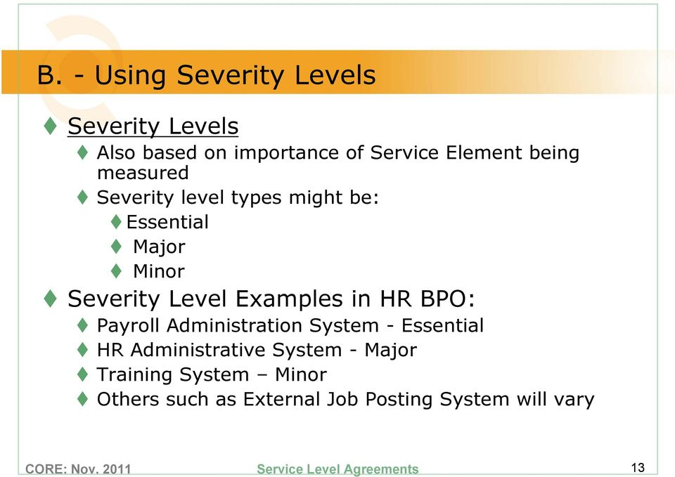 Level Examples in HR BPO: Payroll Administration System - Essential HR Administrative