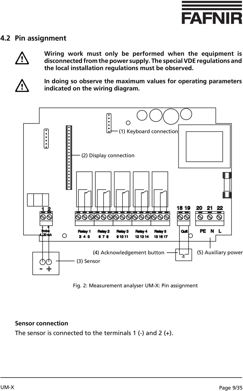 In doing so observe the maximum values for operating parameters indicated on the wiring diagram.