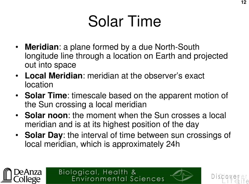 motion of the Sun crossing a local meridian Solar noon: the moment when the Sun crosses a local meridian and is at its
