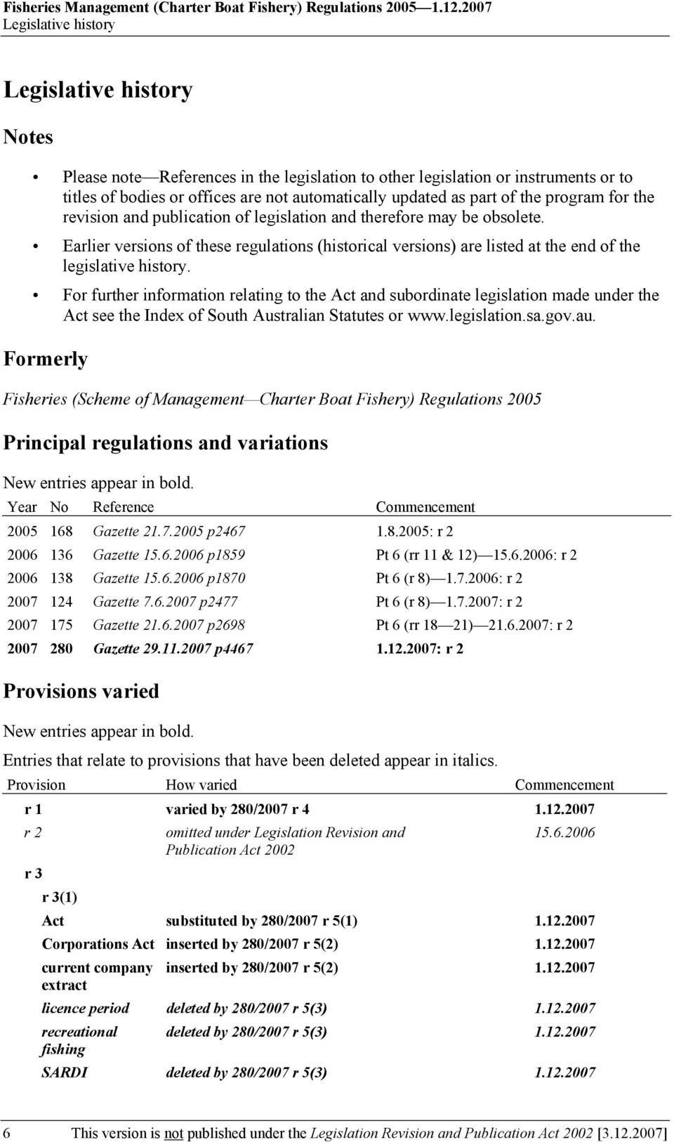 publication of legislation and therefore may be obsolete. Earlier versions of these regulations (historical versions) are listed at the end of the legislative history.