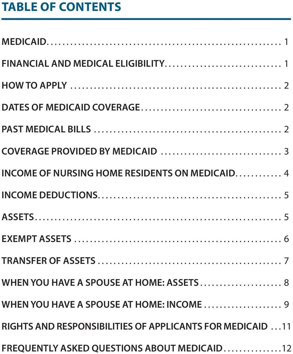 .. 4 INCOME DEDUCTIONS... 5 ASSETS... 5 EXEMPT ASSETS... 6 TRANSFER OF ASSETS... 7 WHEN YOU HAVE A SPOUSE AT HOME: ASSETS.