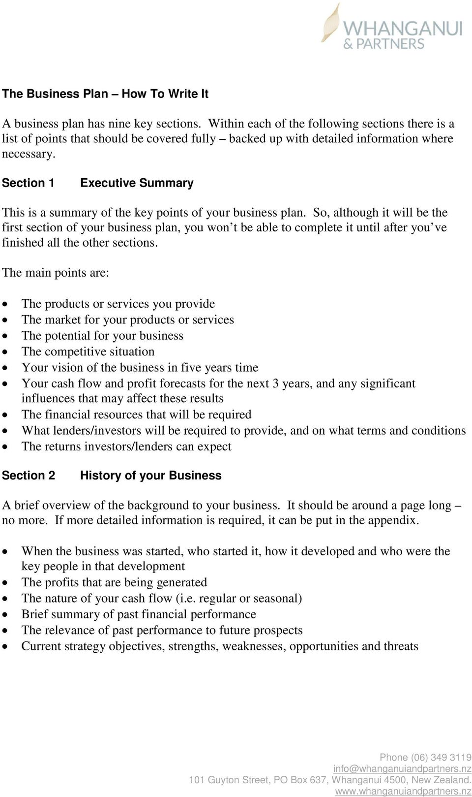 Section 1 Executive Summary This is a summary of the key points of your business plan.
