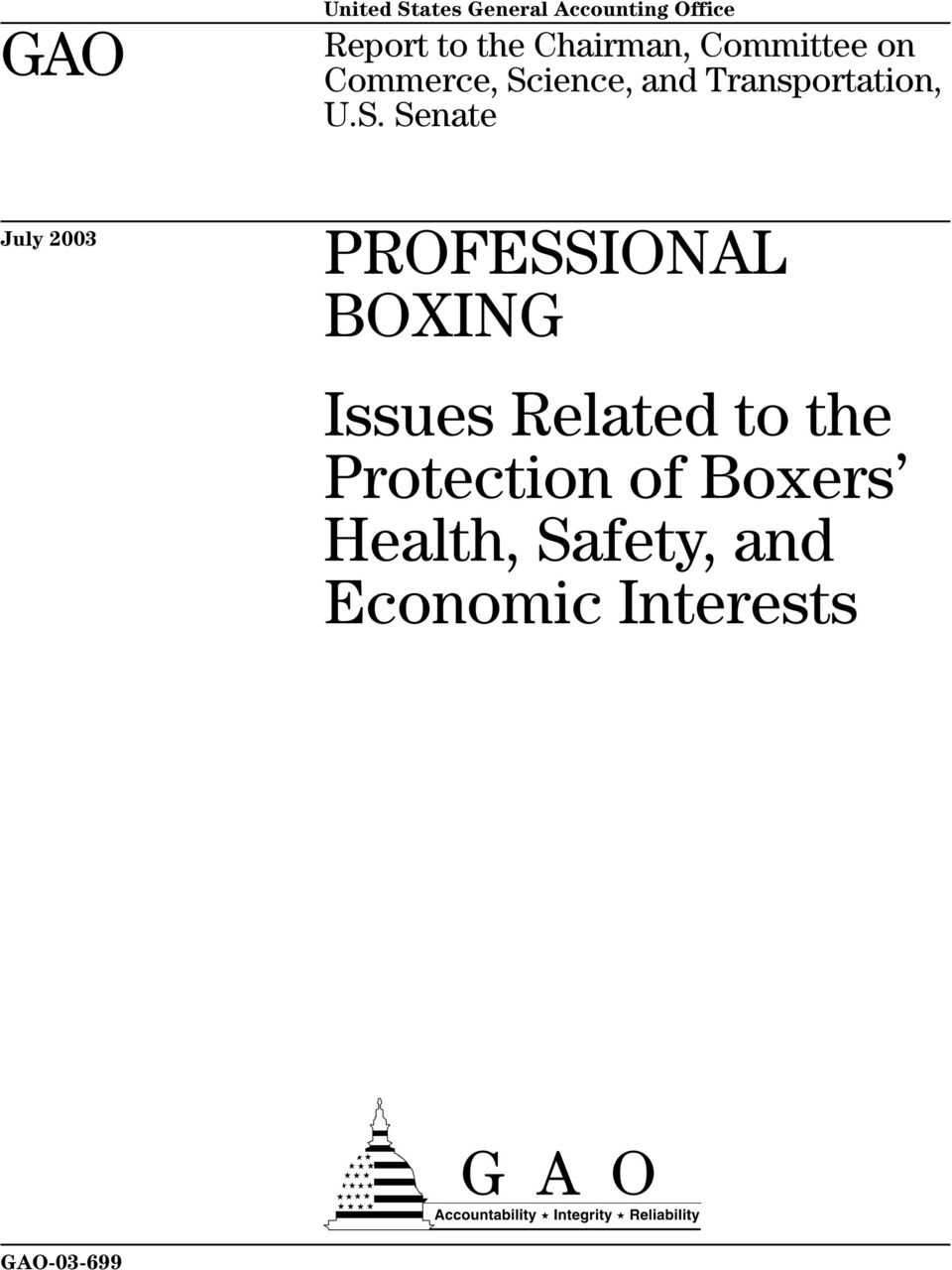 S. Senate July 2003 PROFESSIONAL BOXING Issues Related to the