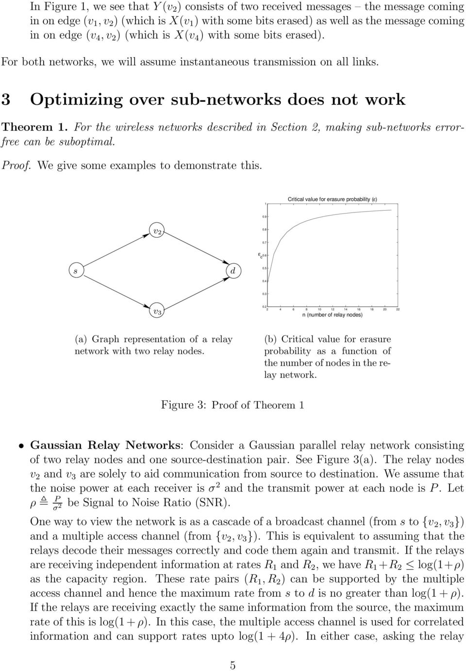 For the wireless networks described in Section 2, making sub-networks errorfree can be suboptimal. Proof. We give some examples to demonstrate this. 1 Critical value for erasure probability (ε) 0.