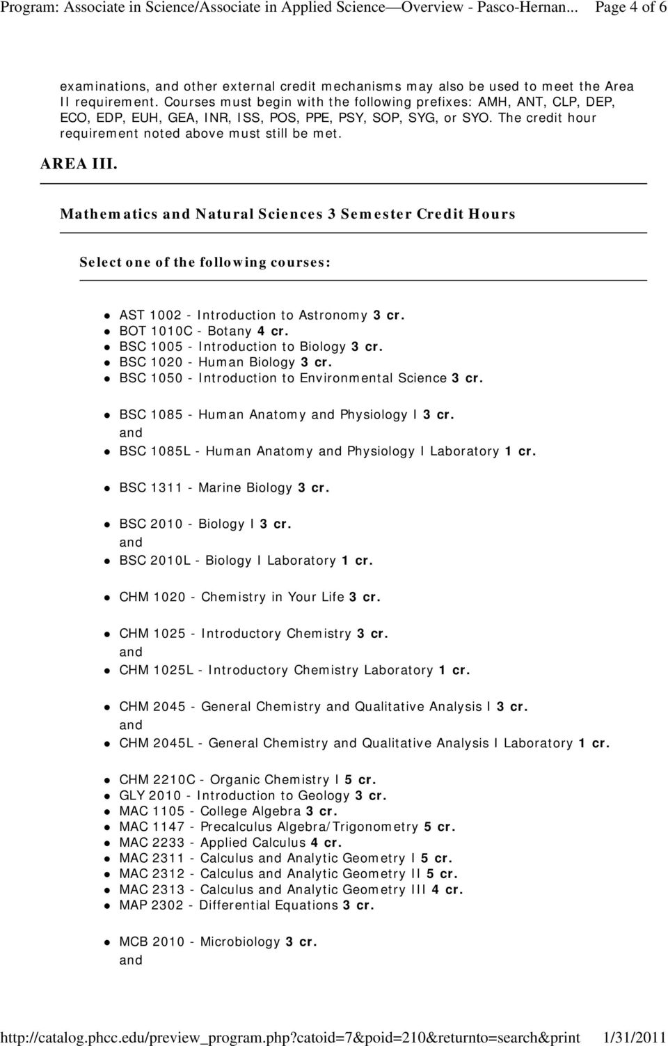 Mathematics Natural Sciences 3 Semester Credit Hours AST 1002 - Introduction to Astronomy 3 cr. BOT 1010C - Botany 4 cr. BSC 1005 - Introduction to Biology 3 cr. BSC 1020 - Human Biology 3 cr.