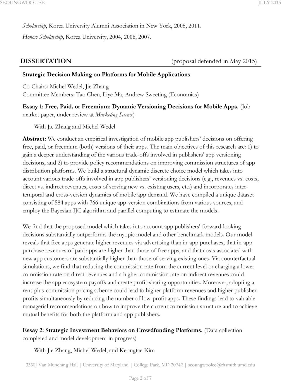(Economics) Essay 1: Free, Paid, or Freemium: Dynamic Versioning Decisions for Mobile Apps.
