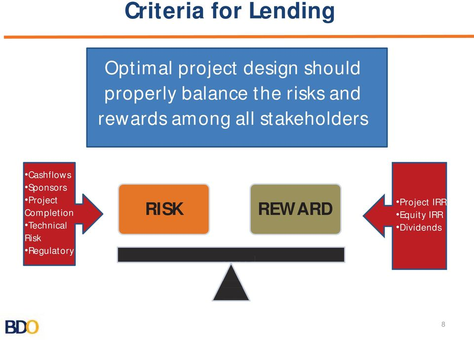 Regulatory RISK REWARD Project IRR Equity IRR Dividends BDO s process will take from