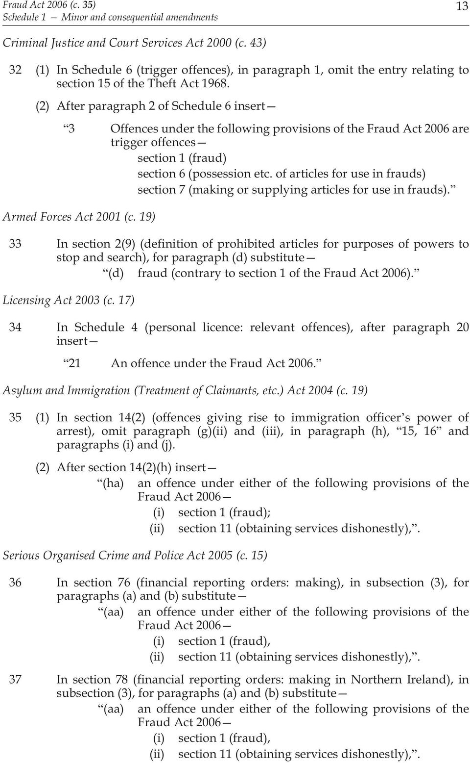 of articles for use in frauds) section 7 (making or supplying articles for use in frauds). Armed Forces Act 2001 (c.
