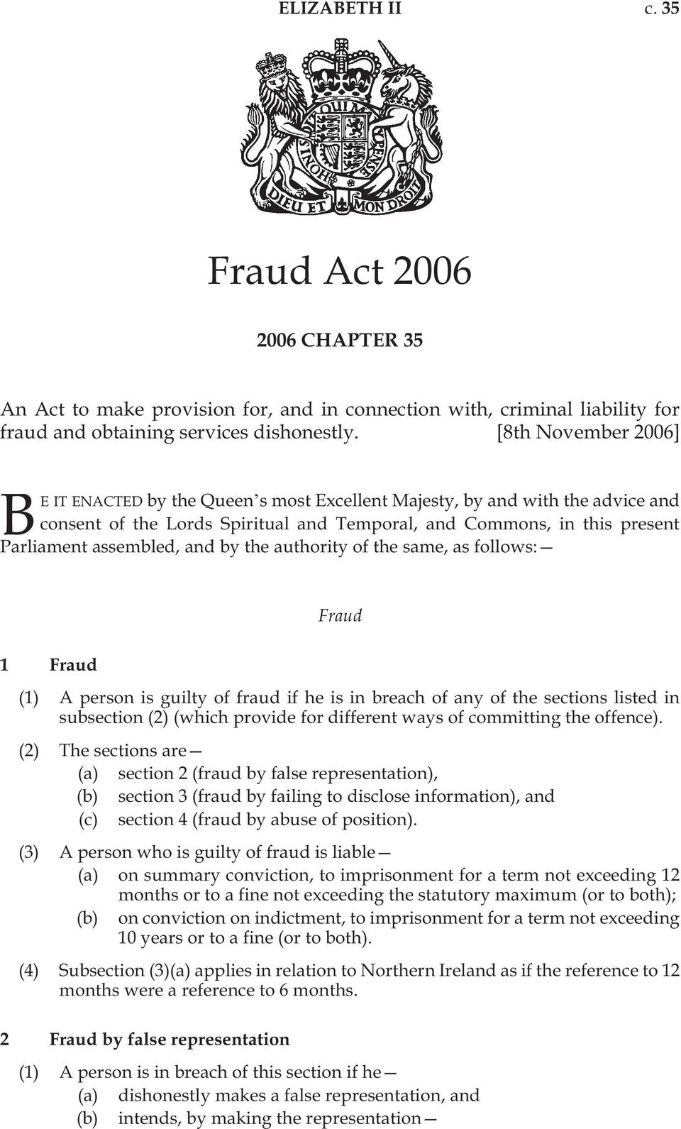 by the authority of the same, as follows: Fraud 1 Fraud (1) A person is guilty of fraud if he is in breach of any of the sections listed in subsection (2) (which provide for different ways of