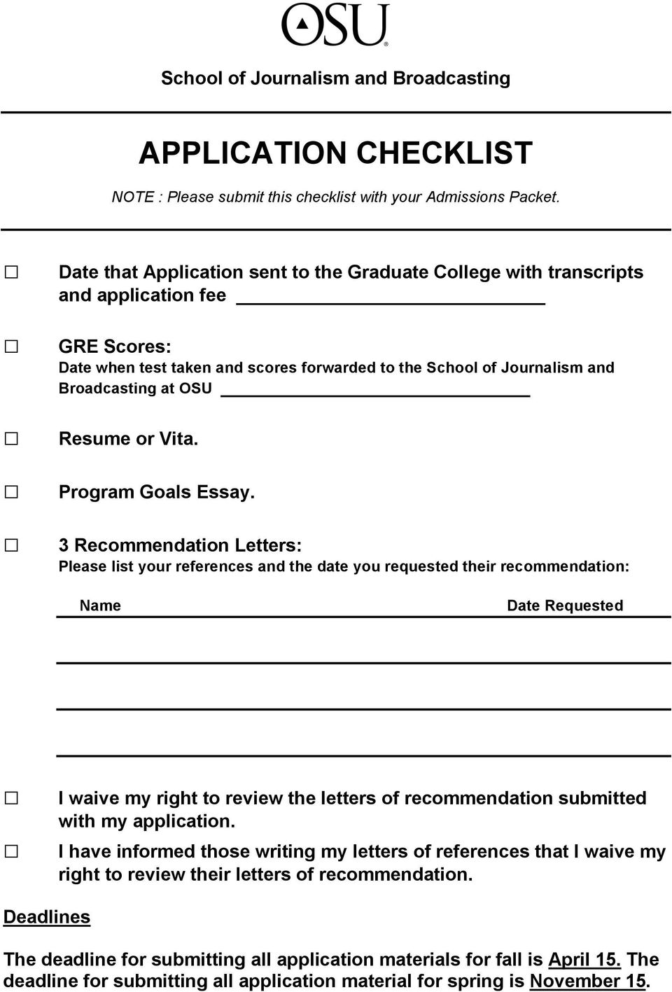 Resume or Vita. Program Goals Essay.