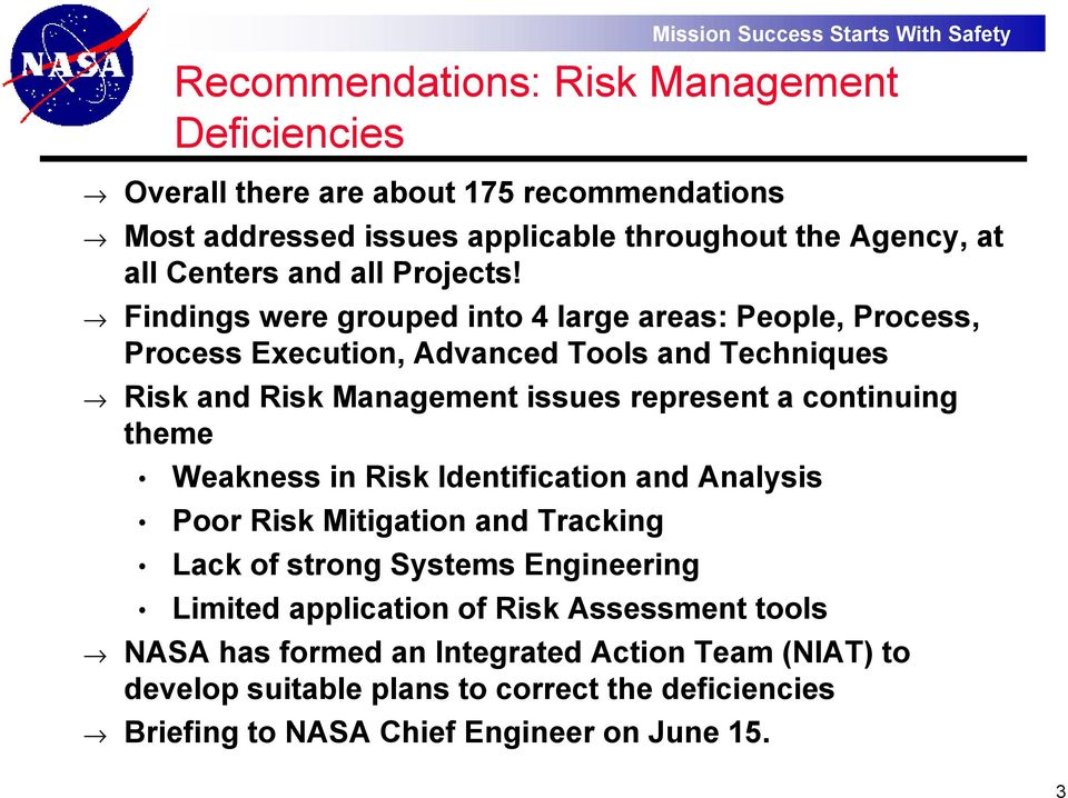 risk management at nasa Post-challenger evaluation of space shuttle risk assessment and management  overall co~nrnents 42 ~ nasa risk assessment 422 n asa risk management sundry .