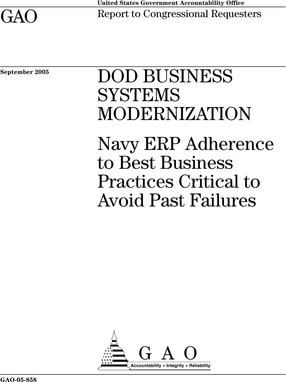 BUSINESS SYSTEMS MODERNIZATION Navy ERP Adherence to