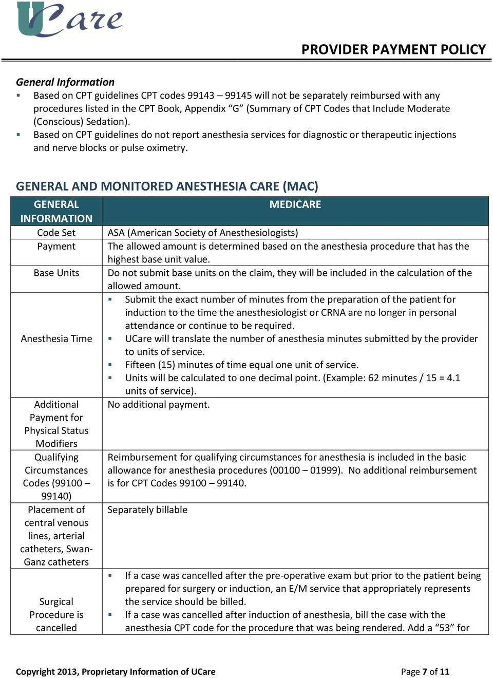 GENERAL AND MONITORED ANESTHESIA CARE (MAC) GENERAL INFORMATION Code Set Payment Base Units Anesthesia Time Additional Payment for Physical Status Modifiers Qualifying Circumstances Codes (99100