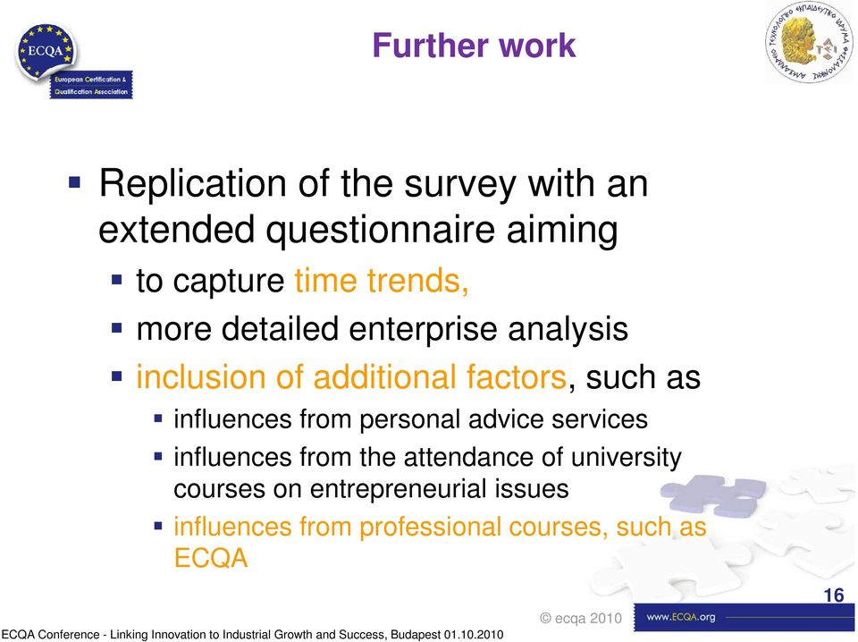 services influences from the attendance of university courses on entrepreneurial issues influences from