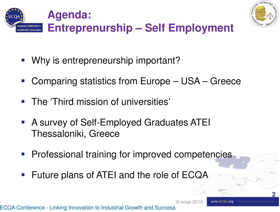 Self-Employed Graduates ATEI Thessaloniki, Greece Professional training for improved